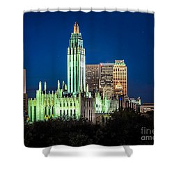 Boston Avenue Methodist Church At Twilight Shower Curtain by Tamyra Ayles