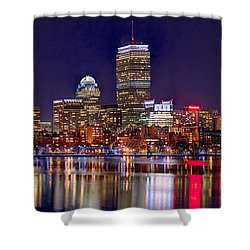 Boston Back Bay Skyline At Night 2017 Color Panorama 1 To 3 Ratio Shower Curtain by Jon Holiday