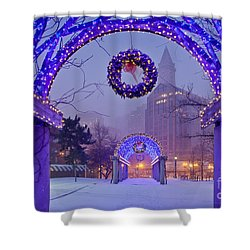Boston Blue Christmas Shower Curtain