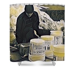 Boston Bucket Man Shower Curtain
