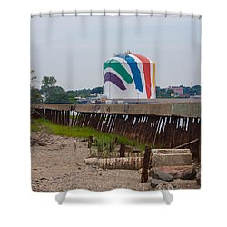 Boston Gas Tank From Squantom  Shower Curtain