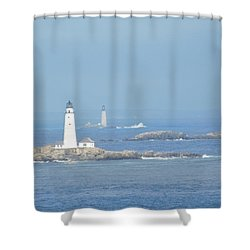 Boston Harbor Lighthouses Shower Curtain by Catherine Gagne