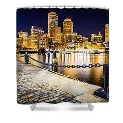 Boston Harbor Skyline At Night Picture Shower Curtain