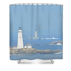 Boston Harbors Lighthouses Shower Curtain by Catherine Gagne