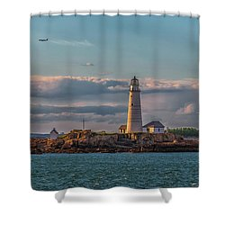 Boston Lighthouse Sunset Shower Curtain