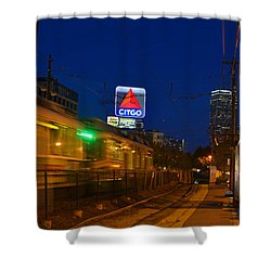 Boston Ma Green Line Train On The Move Shower Curtain