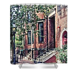 Boston Ma - Walking The Dog On Mount Vernon Street Shower Curtain