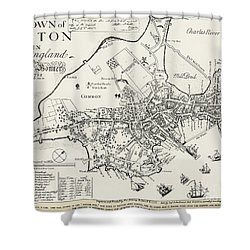 Boston Map, 1722 Shower Curtain