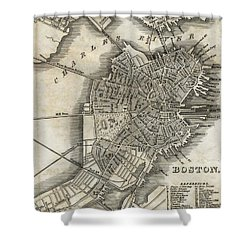 Boston Map Of 1842 Shower Curtain by George Pedro