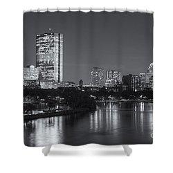 Boston Night Skyline V Shower Curtain