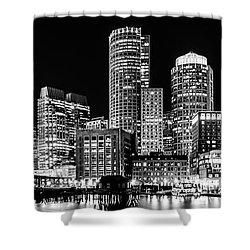 Boston Panorama Cityscape Black And White Photo  Shower Curtain