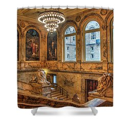 Shower Curtain featuring the photograph Boston Public Library Architecture by Joann Vitali