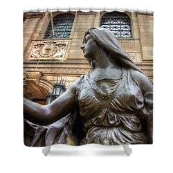 Shower Curtain featuring the photograph Boston Public Library Lady Sculpture by Joann Vitali