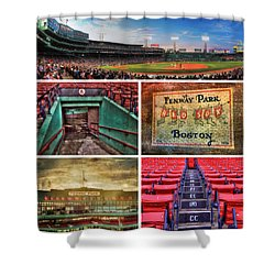 Boston Red Sox Collage - Fenway Park Shower Curtain by Joann Vitali