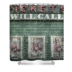 Shower Curtain featuring the photograph Boston Red Sox Fenway Park Ticket Booth In Winter by Joann Vitali