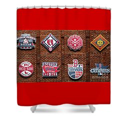 Boston Red Sox World Series Emblems Shower Curtain by Diane Diederich