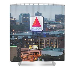 Boston Skyline Aerial Panorama Photo Shower Curtain