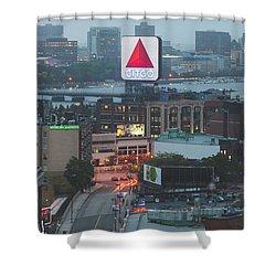 Boston Skyline Aerial Photo With Citgo Sign Shower Curtain