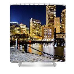 Boston Skyline And Boston Harbor At Night Photo Shower Curtain