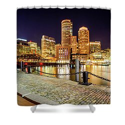 Boston Skyline At Night And Harborwalk Picture Shower Curtain