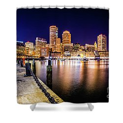 Boston Skyline At Night Picture Shower Curtain