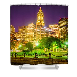 Boston Skyline At Night With Christopher Columbus Park Shower Curtain
