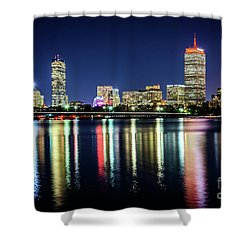Boston Skyline At Night With Harvard Bridge Shower Curtain