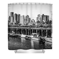 Boston Skyline At Piers Park Black And White Photo Shower Curtain