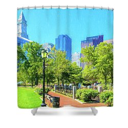 Boston Skyline From Columbus Park Shower Curtain