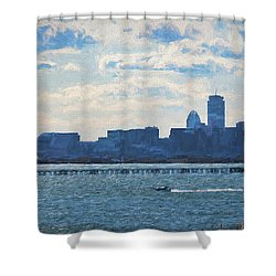 Boston Skyline From Deer Island Shower Curtain