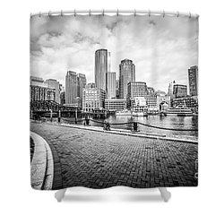 Boston Skyline Harborwalk Black And White Picture Shower Curtain