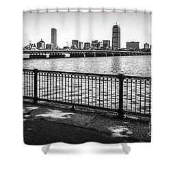 Boston Skyline Harvard Bridge Back Bay Photo Shower Curtain