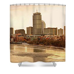 Boston Skyline On A December Morning Shower Curtain by Mitchell R Grosky