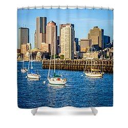 Boston Skyline Photo With Port Of Boston Shower Curtain