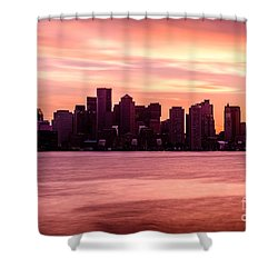 Boston Skyline Picture With Colorful Sunset Shower Curtain