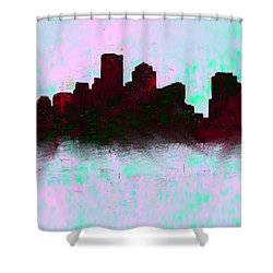 Boston Skyline Sky Blue  Shower Curtain by Enki Art
