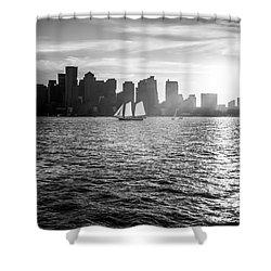 Boston Skyline Sunset Black And White Photo Shower Curtain