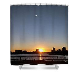 Shower Curtain featuring the photograph Boston Skyline Sunset   by Haleh Mahbod
