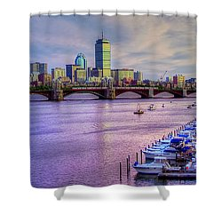 Boston Skyline Sunset Shower Curtain by Joann Vitali