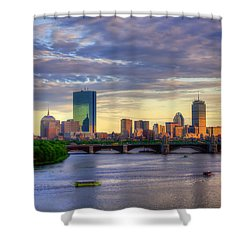 Boston Skyline Sunset Over Back Bay Shower Curtain by Joann Vitali