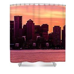Boston Skyline Sunset Panoramic Photo Shower Curtain