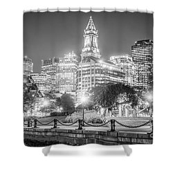 Boston Skyline With Christopher Columbus Park Shower Curtain