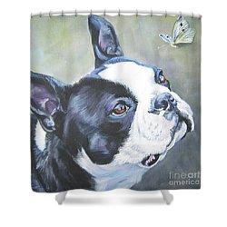 boston Terrier butterfly Shower Curtain