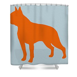 Boston Terrier Orange Shower Curtain by Naxart Studio