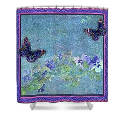 Botanical And Colorful Butterflies Shower Curtain