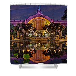 Botanical Building At Night In Balboa Park Shower Curtain by Sam Antonio Photography