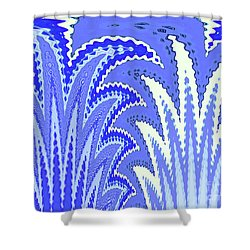 Botanicals In Blue Shower Curtain
