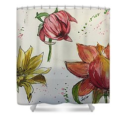 Shower Curtain featuring the painting Botanicals by Lucia Grilletto