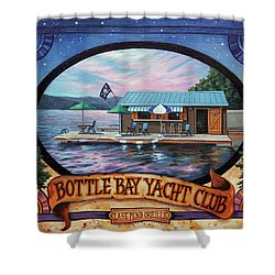 Bottle Bay Yacht Club Shower Curtain