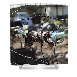 Bottle Fence Shower Curtain by Annette Berglund